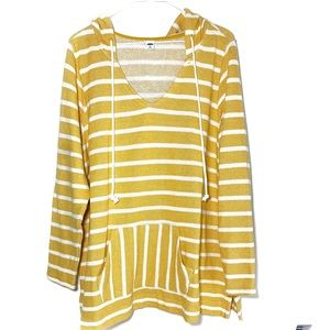 Old Navy striped yellow and white hooded poncho